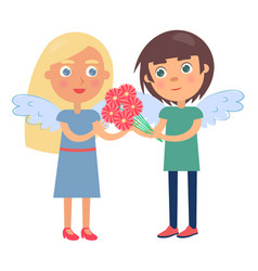 boy girl couple wings on back man gives flowers vector image