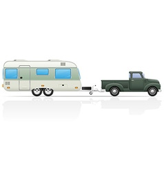 car pickup with trailer 04 vector image