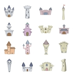 Castle tower icons set cartoon style vector image