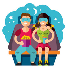 cinema couple flat style colorful cartoon vector image vector image