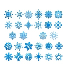 Cool blue snowflakes set vector image vector image