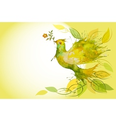 Flying green dove - horizontal background vector