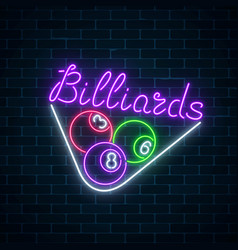 Glowing neon signboard of bar with billiards on vector