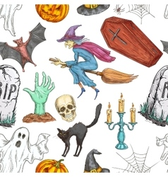 Halloween seamless pattern of sketch symbols vector image