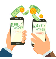 mobile money transferring banking concept vector image vector image