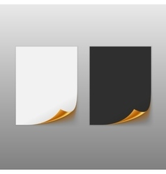 Set Of Paper Sheets With Golden Curled Corner vector image