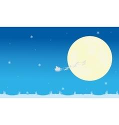 Silhouette of santa sleigh and full moon vector