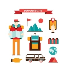 Tourism and travel Set of modern flat design vector image vector image