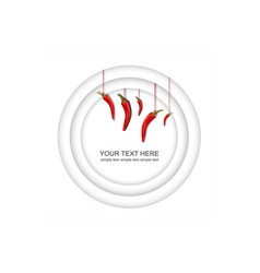 3d rendering white background with red peppers vector image