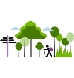 backpacker with bag in a forest vector image vector image