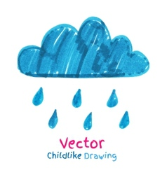 Childlike drawing of rainy cloud vector image vector image