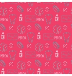 Hand drawn medical seamless pattern Pharmacy vector image