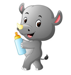 rhino holding baby bottle with nipple vector image vector image