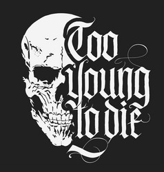 skull t-shirt with gothic lettering hand drawn vector image