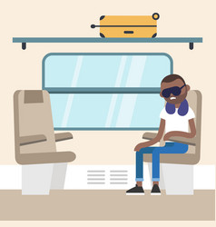 young black passenger sitting in the train vector image