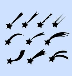 falling stars set shooting stars isolated vector image