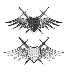 shield with swords emblem set vector image