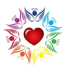 Teamwork angels around heart logo vector image