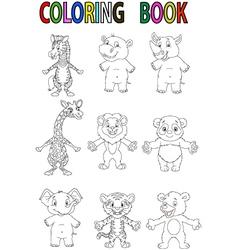 Wild animal coloring book vector
