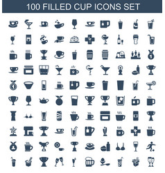 100 cup icons vector