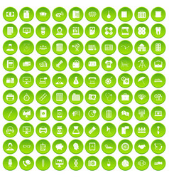 100 department icons set green circle vector