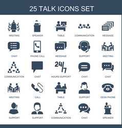 25 talk icons vector image