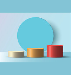 3d realistic empty white yellow red round step vector