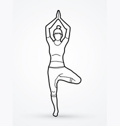 A woman practicing yoga yoga pose outline graphic vector