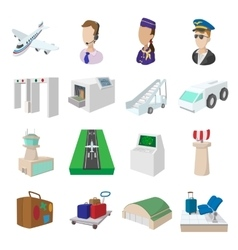 Airport cartoon icons vector image