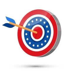 Arrow hit in center usa target vector