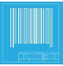 Bar code sign White section of icon on blueprint vector image