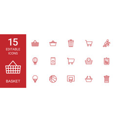 basket icons vector image