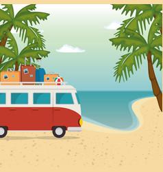 beach seascape beautiful scene vector image