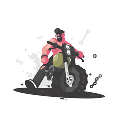 Biker on motorcycle vector
