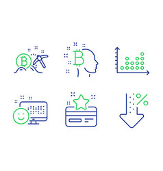Bitcoin think dot plot and smile icons set vector