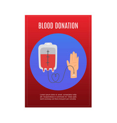 blood donation with donors hand and blood tube vector image