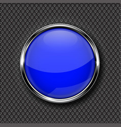 blue round glass button with chrome frame vector image