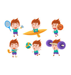 Boy playing different sports set boy boxing vector