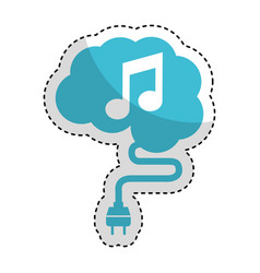 Brain connected with music note vector