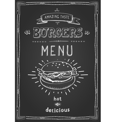 Burger poster menu sketch drawing on the vector image