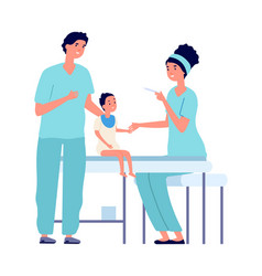 children vaccination baby and nurse with syringe vector image