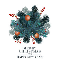 christmas 2019 greeting card with fir ball and red vector image