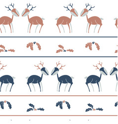 christmas stripes seamless pattern with deers vector image