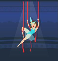 circus air gymnast performing with ribbons vector image