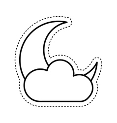 Cloud with moon climate sign isolated icon vector