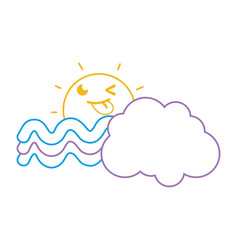 Color line funny sun with cloud and rainbow vector