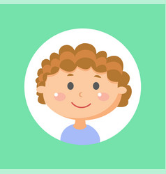Cute boy kid male child with curly hairstyle vector