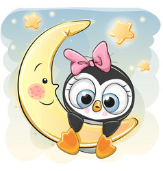 Cute penguin girl on the moon vector