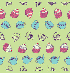 Cute tea party elements geometrically aligned on a vector