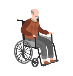 Disabled elderly man on wheelchair old adult vector